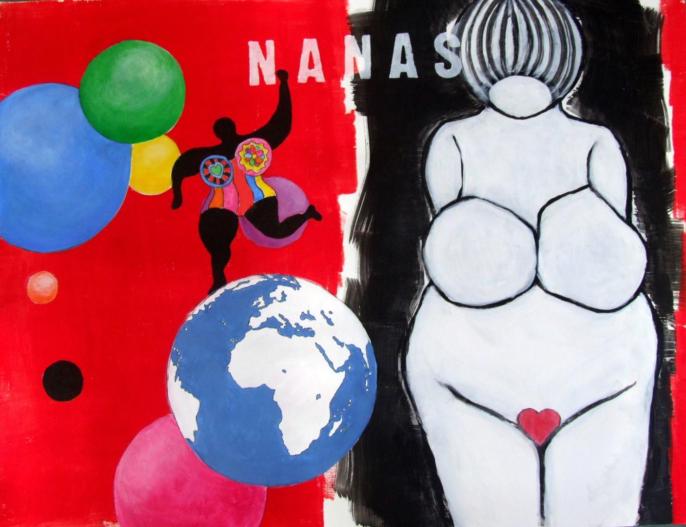 Nanas (hommage à Niki). 65x50 cm.